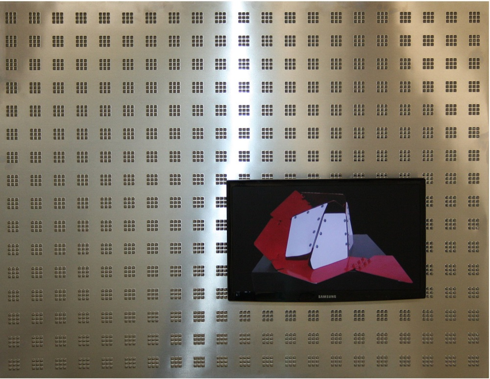 436  RESULT of 'MULTIPOSS'  II   Aluminium plate with uniformly distributed bulges. Display with video 'MULTIPOSS 2012'  100x128x13cm_